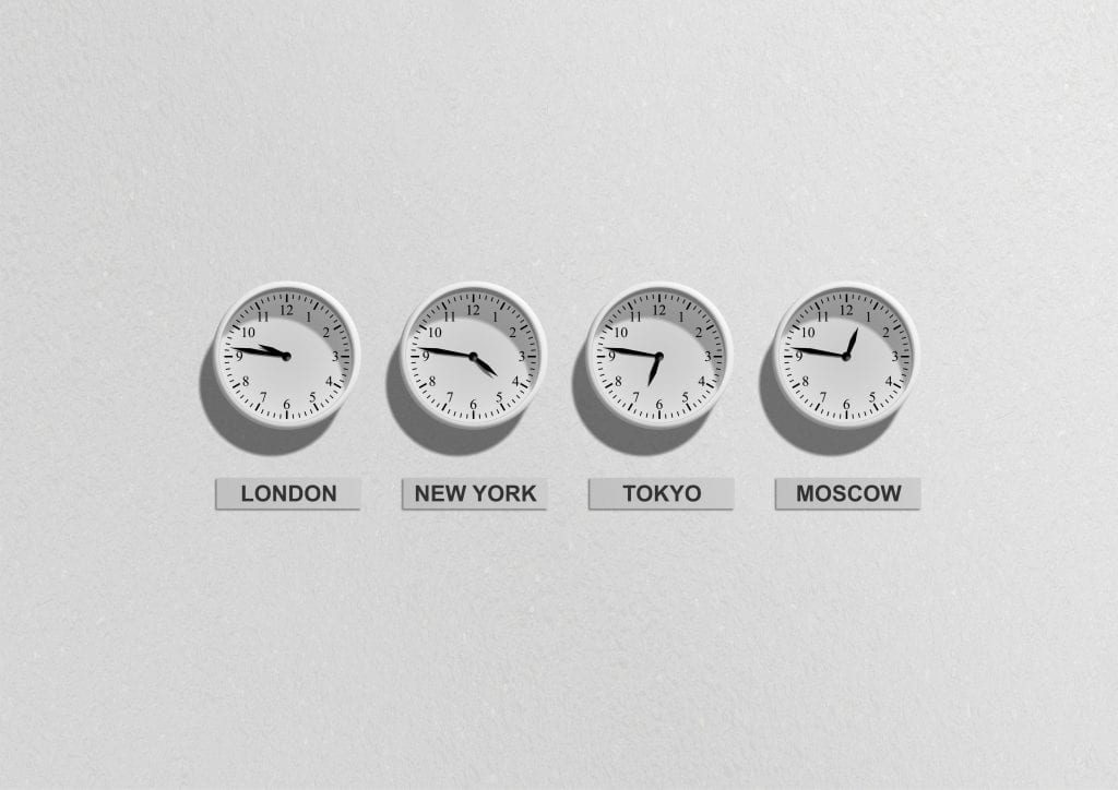 Several clocks representing different time zones which is one of advantages and disadvantages of BPO in business outsourcing